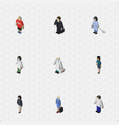 isometric human set of doctor hostess vector image