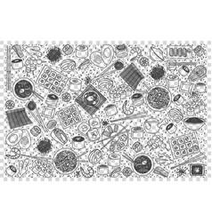 japanese food doodle set vector image