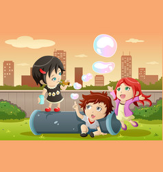 Kids playing bubbles vector
