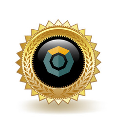 Komodo cryptocurrency coin gold badge vector