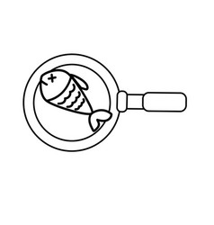 Line delicious fried fish inside skillet pan vector
