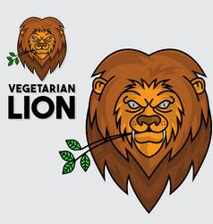 lion vegetarian logo vector image