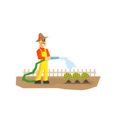Man watering plants with hose farmer working in vector