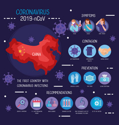 Map china with coronavirus 2019 ncov vector