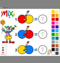 Mix colors educational game with clown vector