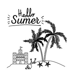 Monochrome poster of hello summer with sandcastle vector