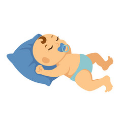 Newborn baby in diapers sleeps on soft pillow vector