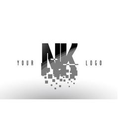 nk n k pixel letter logo with digital shattered vector image