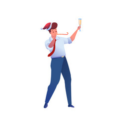 office man in suit santa hat with whistle vector image