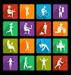 Physical activity icons flat vector image