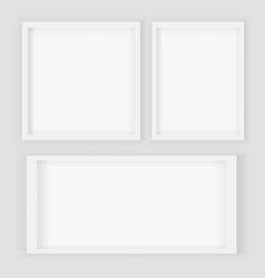 realistic 3d square and rectangular white blank vector image