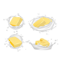 Realistic butter and milk splashes creamy vector