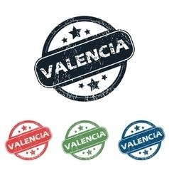 Round Valencia city stamp set vector