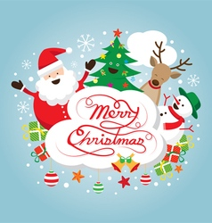 Santa Claus Snowman Reindeer and Tree Characters vector image