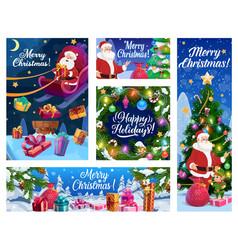 Santa on rochristmas gifts xmas tree and elf vector