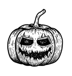 scary halloween pumpkin isolated on white vector image