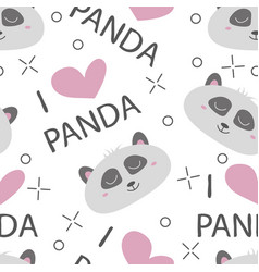 seamless pattern hand-drawn faces of pandas vector image