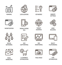 seo line icons set optimization vector image