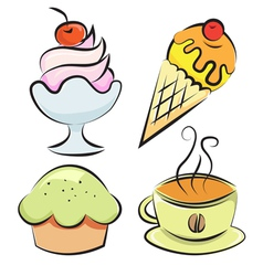Set Desserts and coffee vector image