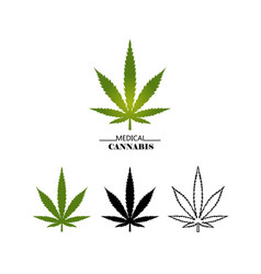 set different logo marijuana leaves isolated vector image