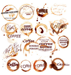 Set of spot grunge elements from coffee vector