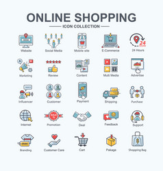 shopping online banner web icon set website vector image