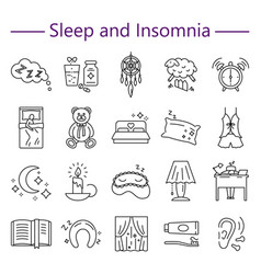 sleep and insomnia line icons set vector image