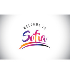 Sofia welcome to message in purple vibrant modern vector