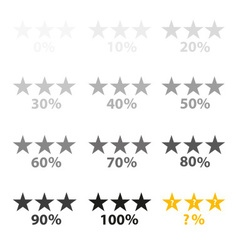 Stars gray and percentage for rating and reviews vector
