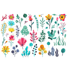 Summer flowers flat floral garden flower vector