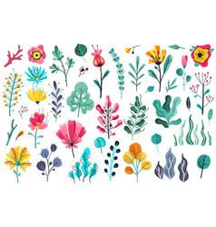summer flowers flat floral garden flower vector image
