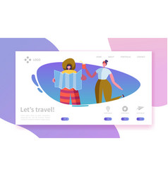 Tourism and travel industry landing page traveling vector