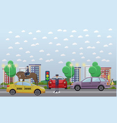 traffic policeman and mounted police flat vector image