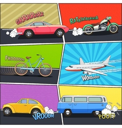 Transport Comic Frames Set vector