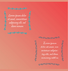 Two colored floral frames with sample text vector