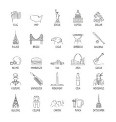 usa icons set line style vector image
