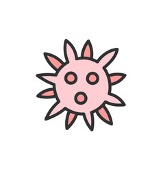 virus bacteria flat color line icon vector image