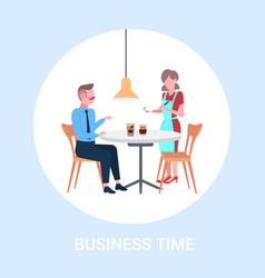 waitress taking order from businessman visitor vector image