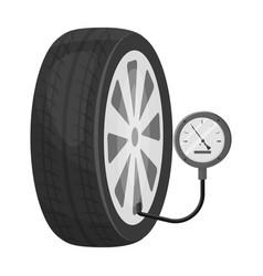 Wheel and manometer single icon in monochrome vector