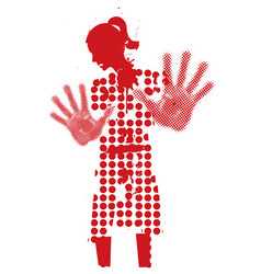 Young woman silhouette victim of violence vector