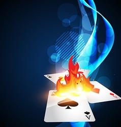 burning casino card vector image vector image
