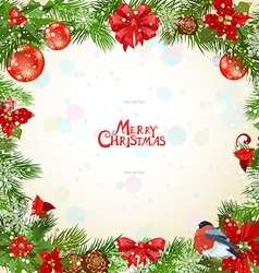 Christmas frame with pine twigs and flowers vector image