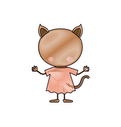 color crayon silhouette caricature faceless of cat vector image vector image