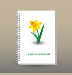 Cover of diary notebook with ring spiral narcissus vector