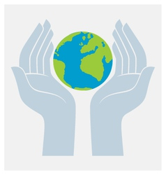 earth protected by hands vector image vector image