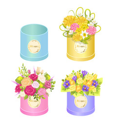 flowers in boxes set of spring ddelicious bouquets vector image vector image