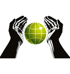 Hands and earth symbol ecology care vector image