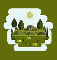 house in the swamp swamp flat design vector image