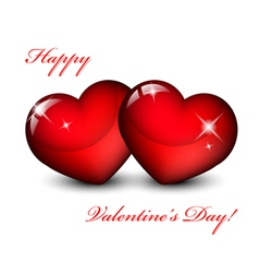 of two red hearts vector image vector image