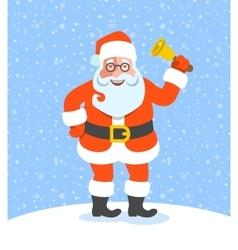 Santa Claus ringing jingle bell cartoon character vector image vector image